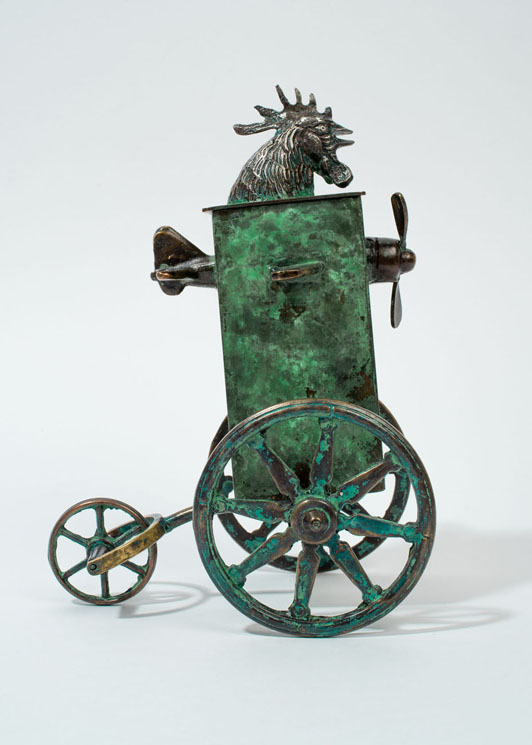 Spitfire Cock - patinated brass and copper vessel - 23cm