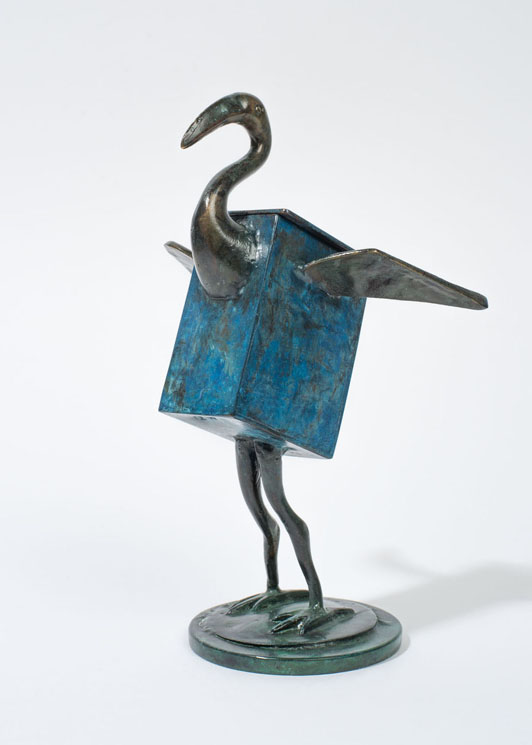 Bluebird Box - patinated brass and copper vessel - 16cm
