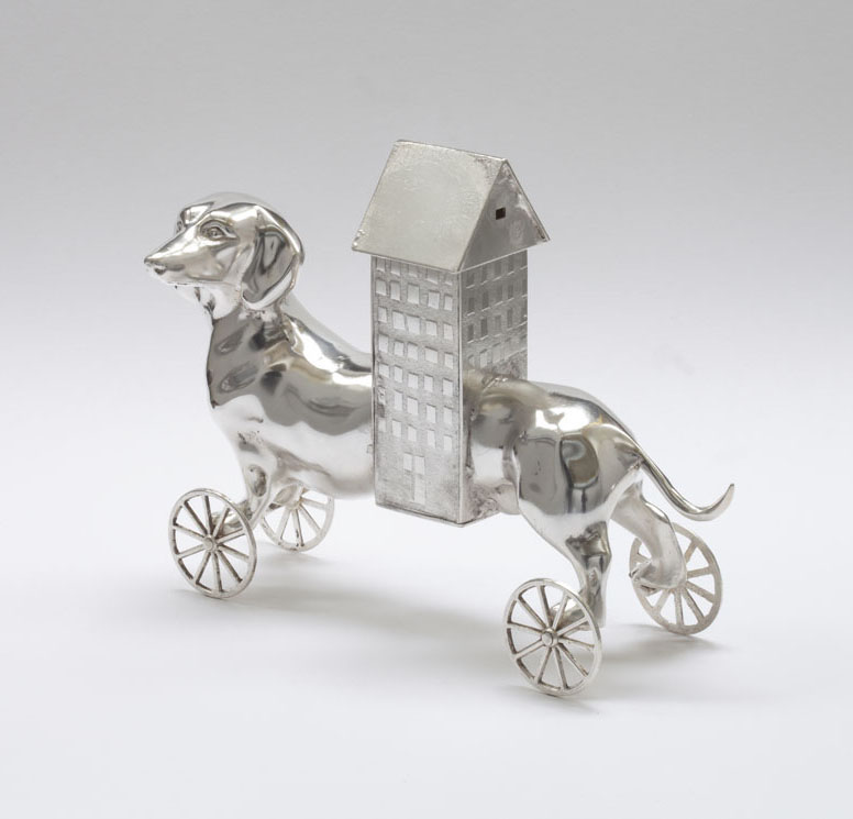Dog House - silver plated barass and copper vessel - 16 cm x 22cm