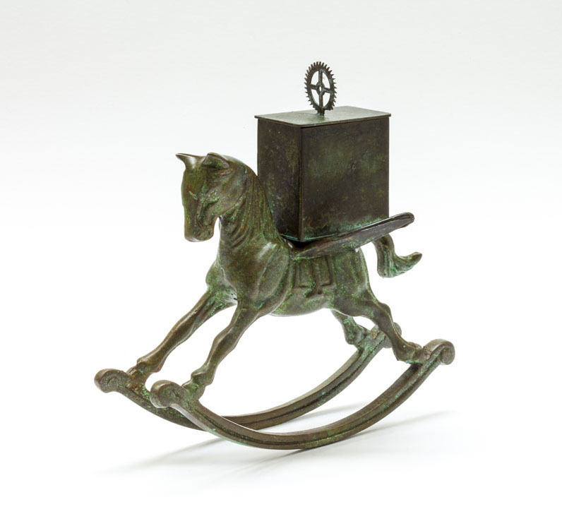 Rocking Horse Reliquary Box - patinated brass and copper - 15 cm