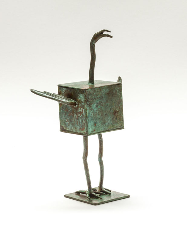 Little Bird Box - patinated brass and copper - 18cm
