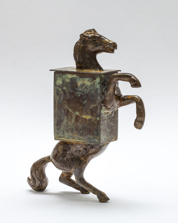 Horse Box - pattinated rass and copper vessel - 20cm