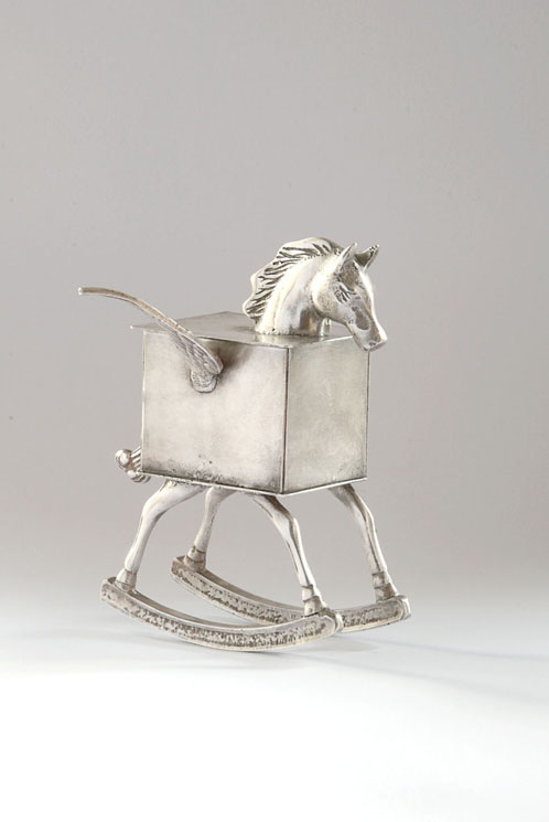 Rockin' Horse - silver plated brass and copper vessel - 14cm