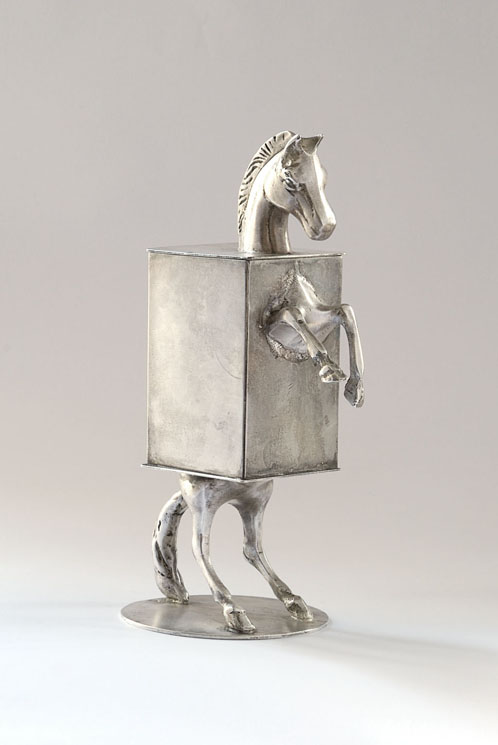 Lippenzanner Horse Box - silver plated brass and copper - 22cm